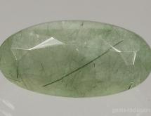 Hedembergite inclusions in quartz (prase quartz)