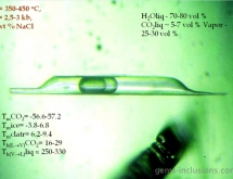 Three phase inclusion with water, liquid CO2 and vapor phases in emerald from the Urals, Russia
