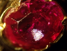 Exsolution rutile needles in natural not heat treated ruby