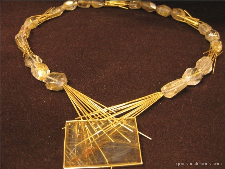Quartz With Gold Inclusions : Inclusions jewelry gems