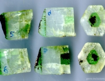 Three well marked growth zones are present in this sawed beryl crystal from Urals, Russia