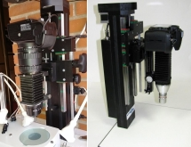 Using acordion bellows with Schneider Component lens and microscope objective for photomicrography