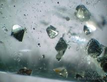 Octahedron pyrite inclusions in quartz