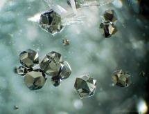 Pyrite inclusions in quartz