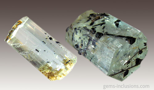Namibian aquamarine with tourmaline inclusions